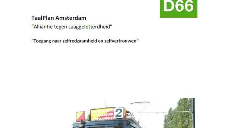 Voorpagina van het TaalPlan Amsterdam Beeld screenshot