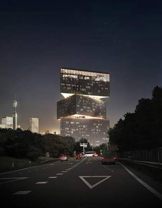 Het ontwerp van Koolhaas voor het Nhow in Amsterdam. Dit grootste hotel van het land komt bij de RAI.