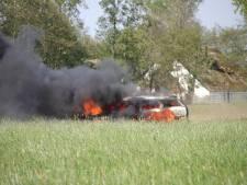 Auto gaat in vlammen op in weiland Nijkerkerveen