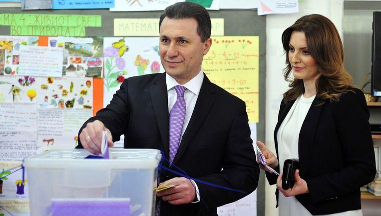 Premier Nikola Gruevski van Macedonië en zijn vrouw. Beeld afp