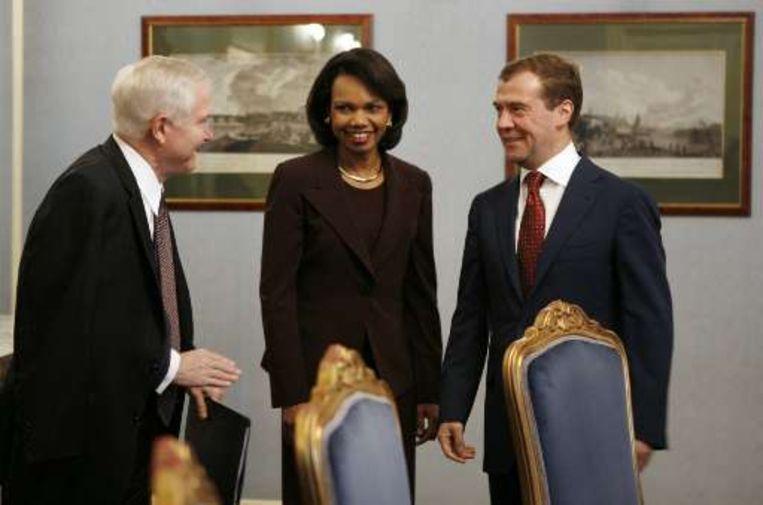 Robert Gates, Condoleezza Rice en Dimitri Medvedev ontmoetten elkaar vandaag in Moskou.