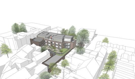 Het plan voor het complex aan de Nieuwlandstraat in vogelvlucht. Vanuit de Heuvelstraat gezien. Ter referentie: het bruine pand met 'schoorsteen' ligt aan de Nieuwlandstraat.