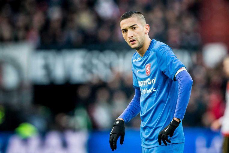 Hakim Ziyech van FC Twente baalt. Beeld anp