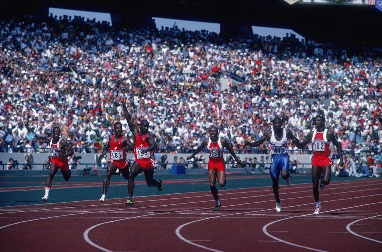 Ben Johnson won de 100 meter in 1988, maar werd later betrapt op doping. Beeld getty