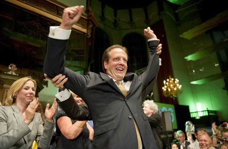 Pechtold juicht na de uitslagen van de verkiezingen in 2012. De partij won twee zetels. Beeld ANP