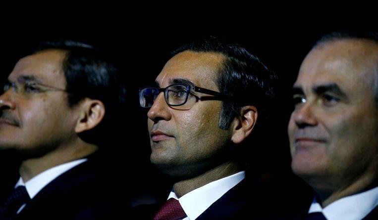 Iqbal Khan, voormalig ceo internationaal vermogensbeheer voor Crédit Suisse tijdens een aandeelhoudersvergadering in Zürich.  Beeld REUTERS
