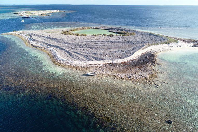 Luchtfoto van Burton Island in West-Australië.