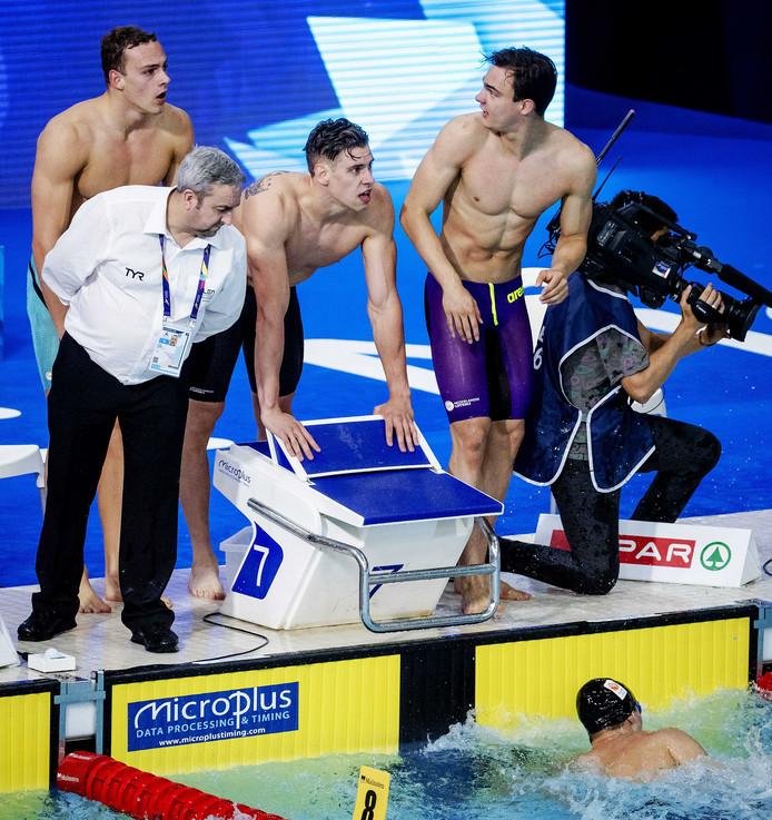 Nyls Korstanje Kyle Stolk gisteren in actie op de 4x100 meter.