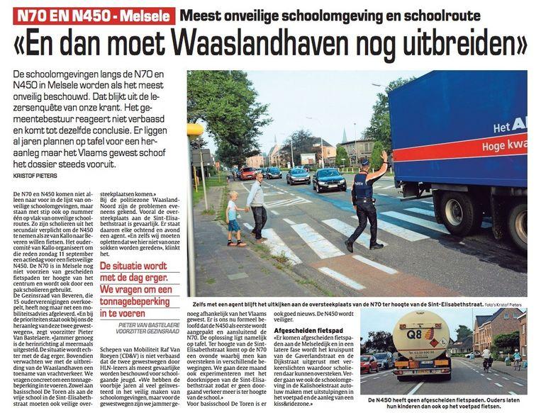 Vorige week vermeldde onze krant in het grote verkeersonderzoek nog hoe onveilig de schoolomgevingen langs de N70 en de N450 zijn.
