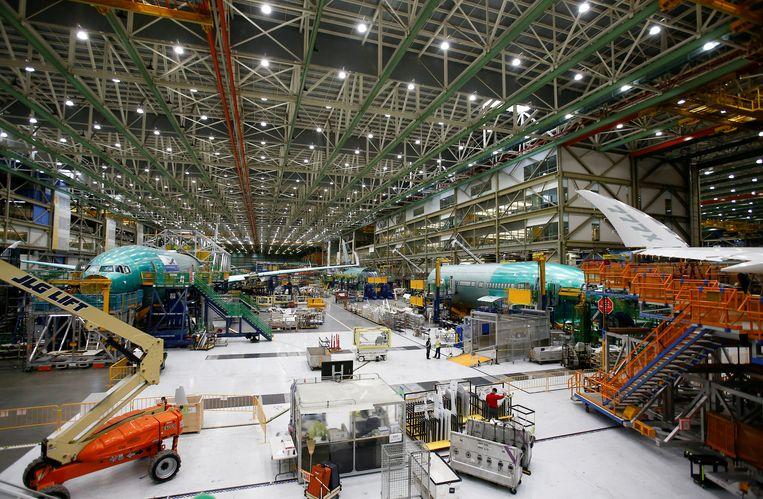 Een fabriekshal waar de 777x wordt ontwikkeld.  Beeld Reuters