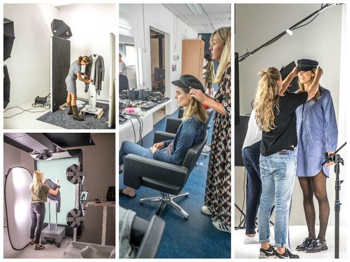 Modellen en paspoppen werken samen in de studio's van Wehkamp. Foto's: Frans Paalman