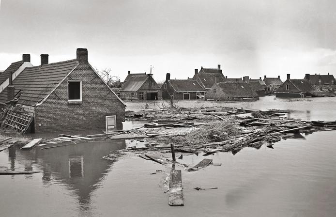 Ondergelopen huizen in de omgeving van Yerseke na de watersnood.
