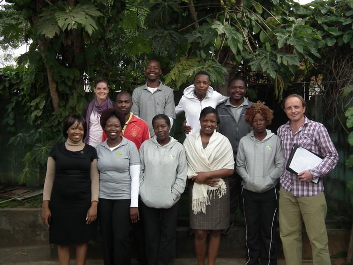 Het team van Sport 4 Socialisation in Mutare, Zimbabwe. Foto Karolien Koolhof