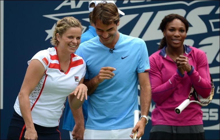 Kim Clijsters en Roger Federer in 2012.