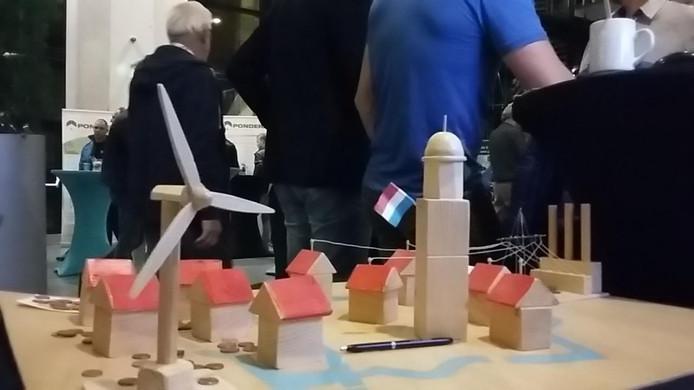 Maquette van de windmolens in Zwolle