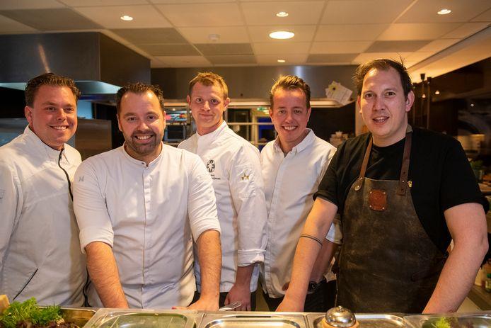 Rick de Jong van restaurant Os en Peper in Zwolle, Martijn Kuik van Sukerieje in Dalfsen, Bastiaan Pruijsen van Bluefinger Restaurant in Zwolle, Thomas van Mechelen van Sukade in Meppel en en Robert Thulden van Het Weeshuys in Zwolle.