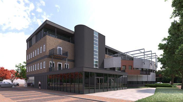 Een impressie van het ontwerp van het woon-horecaproject Op de Bank in Malden. Architect is Croonen Architecten uit Nijmegen.