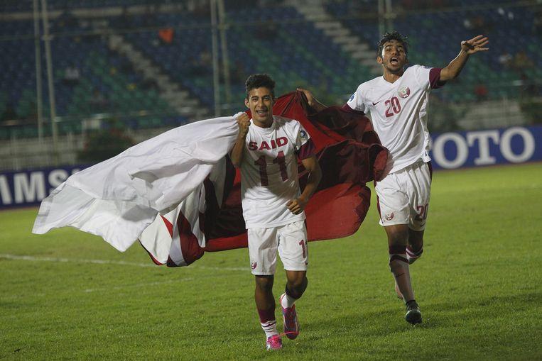Elftalfoto van het succesvolle nationale Qatarese team onder 19 jaar. Ze zijn allen opgeleid bij de Aspire Academy. Beeld reuters