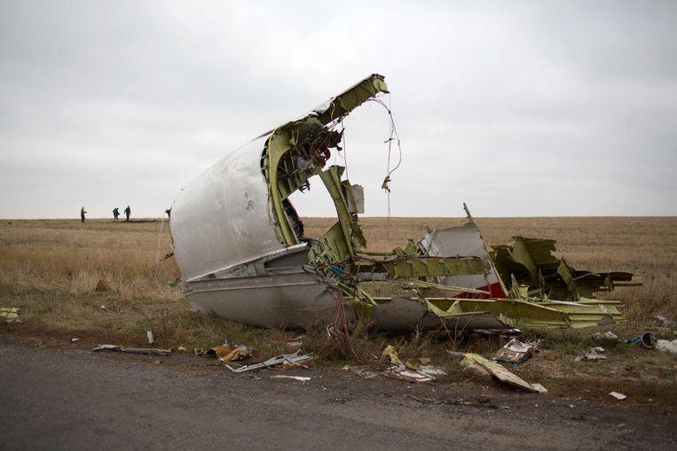 Een foto van november 2014 toont een stuk van het wrak van MH17.
