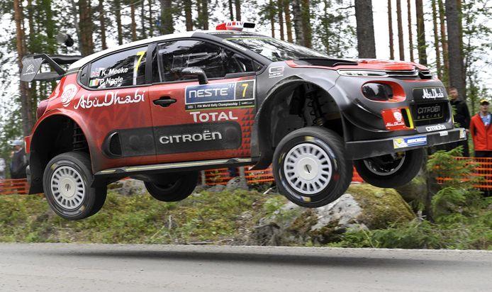 Kris Meeke actief in de Rally van Finland in 2017.