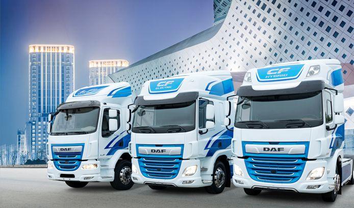 De innovatieve elektrische en hybride trucks van DAF, in de uitvoeringen voor de lichte (LF) en middelzware (CF) varianten.