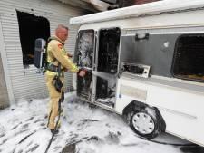 Caravan vat vlam in Eindhoven