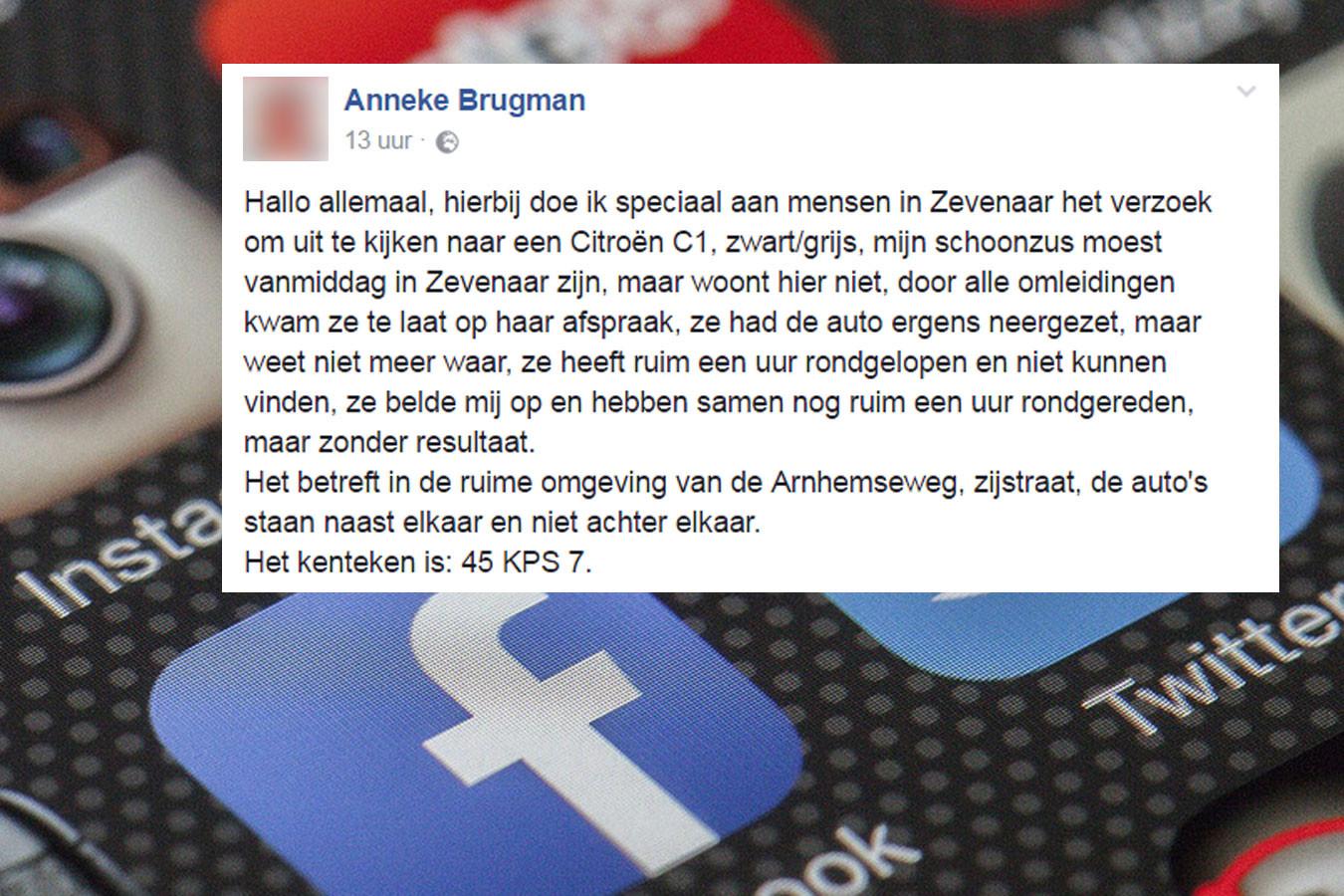 De oproep op Facebook.