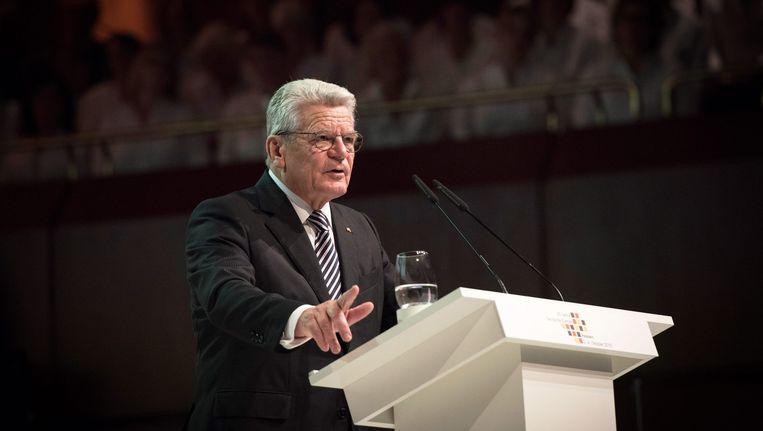 President Joachim Gauck tijdens zijn redevoering. Beeld epa