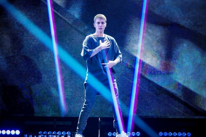 Justin Bieber tijdens een optreden vorige week in Denemarken.