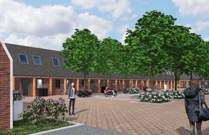 Een impressiebeelld van de toekomstige buurt voor arbeidsmigranten in Veghel.