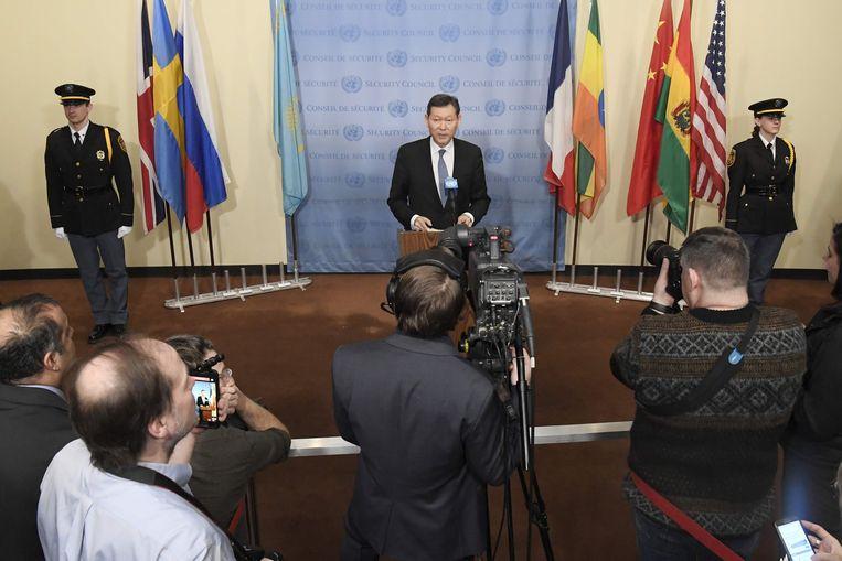 Kairat Umarov, de Kazakse afgevaardigde voor de VN-Veiligheidsraad.