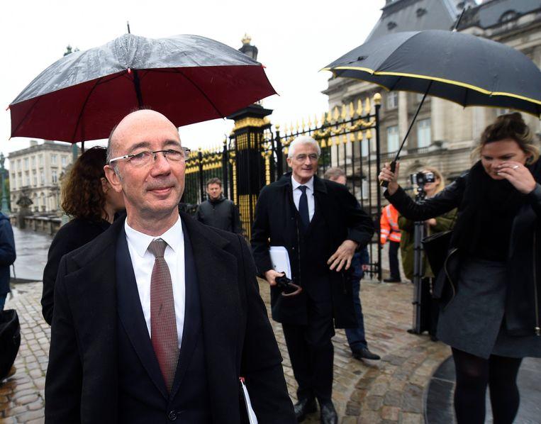 Rudy Demotte (PS)  na een bezoek met Geert Bourgeois (N-VA) aan koning Filip. (08/10/2019)