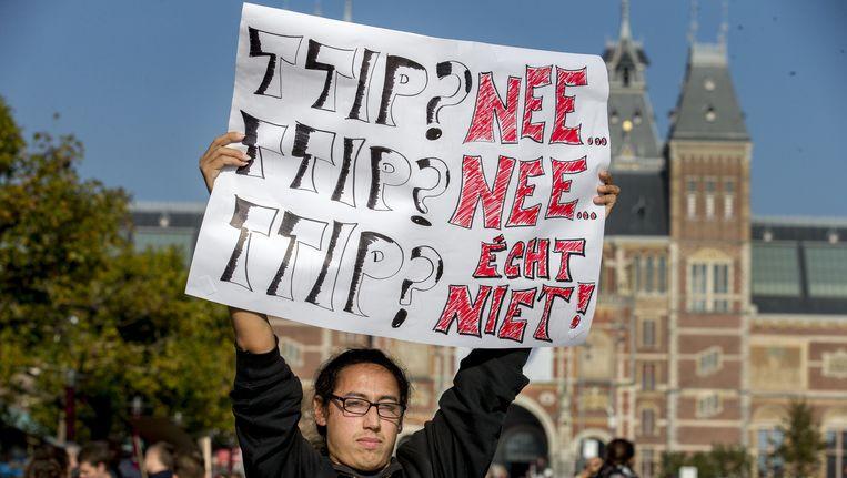 Demonstratie tegen TTIP in Amsterdam. Beeld anp