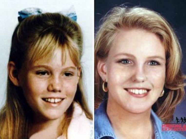 Links Dugard zoals ze eruitzag voor haar ontvoering. Rechts zoals ze er volgens de politie vandaag zou uitzien.