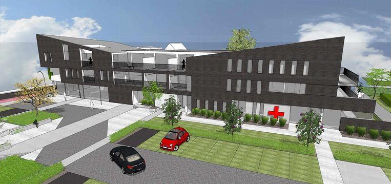 Een 3d-schets van het project in Wildert.