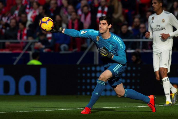 Thibaut Courtois in actie tegen zijn oude club Atlético Madrid afgelopen zaterdag.