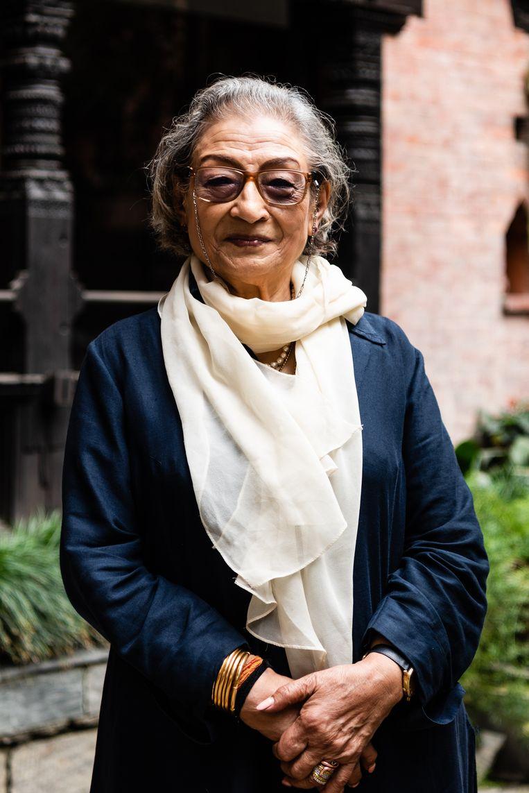 Ambica Shrestha van Dwarika's Hotel.   Beeld Katja Poelwijk