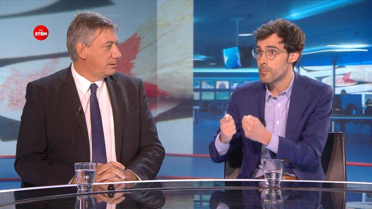 Jan Jambon en Kristof Calvo gingen met elkaar in debat bij VTM Nieuws.