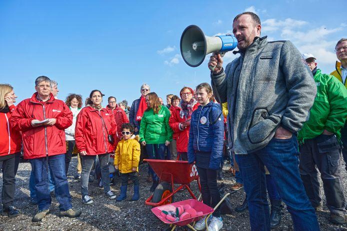 Een manifestatie tegen de komst van de mestfabriek in 2018.