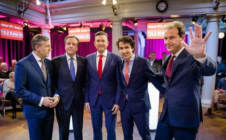 Vijf lijsttrekkers bij het RTL tv-debat. Beeld ANP