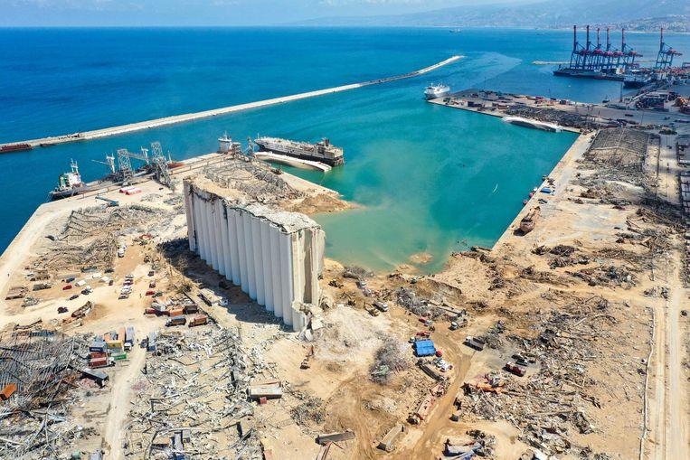 De haven van Beiroet op 9 augustus. Beeld AFP