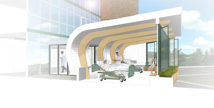 Een impressie van de toekomstige daktuin van de afdeling Intensive Care van ziekenhuis Rijnstate in Arnhem.