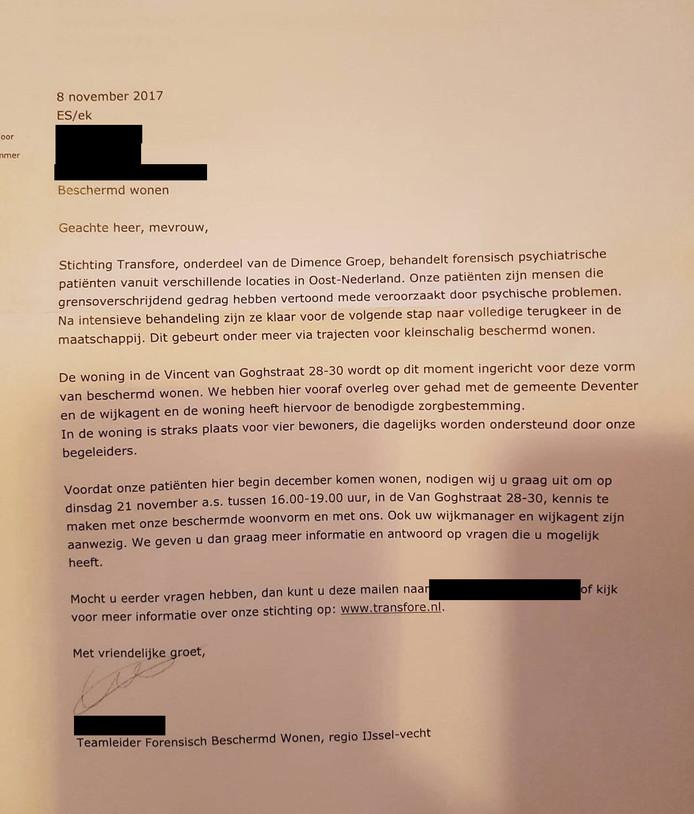 De brief die omwonenden op de mat kregen.