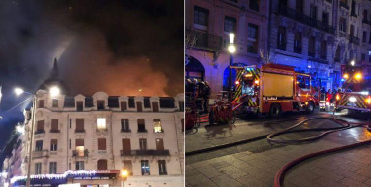 De brand ontstond vannacht in een oud gebouw van vier verdiepingen. De oorzaak is nog onbekend.