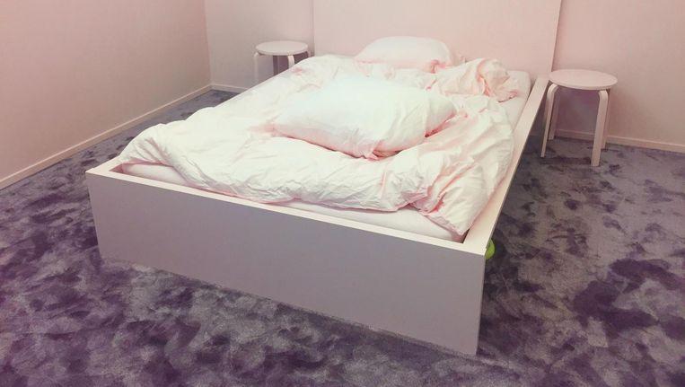 Het werk van de Deense Marie Larsen: Een roze slaapkamer Beeld Jan Pieter Ekker