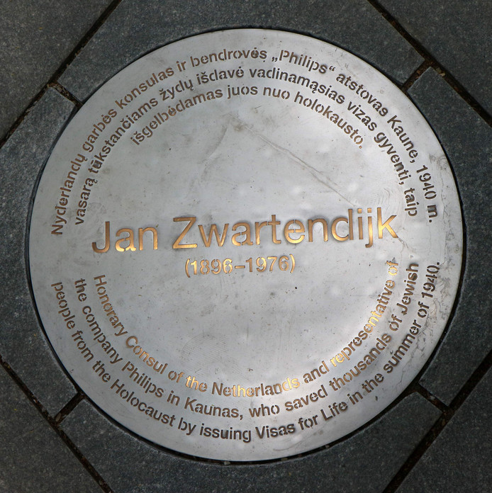 A picture taken on June 15, 2018 shows a plaque displayed with an installation to honour Dutch diplomat Jan Zwartendijk.