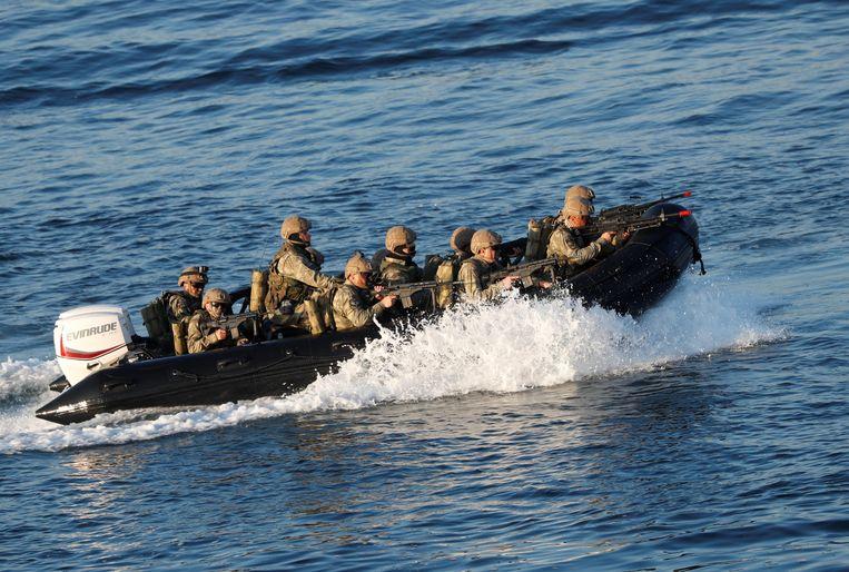 Turkse mariniers tijdens een oefening in 2019.  Beeld Reuters