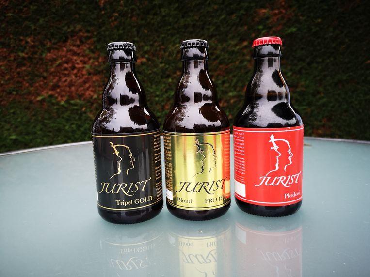 De drie Jurist-biertjes: Triple Gold, Pro Deo en Pleidooi.