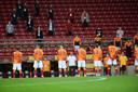 Galatasary met coach Fatih Terim voor de gewonnen wedstrijd om de Turkse Supercup.