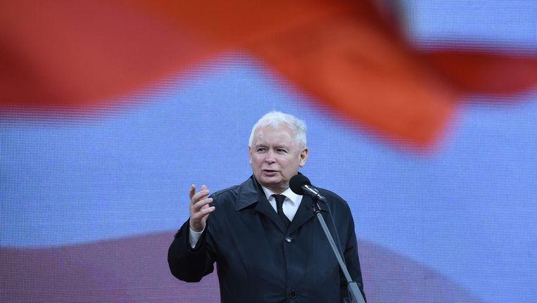 Jaroslaw Kaczynski, partijleider van de regerende partij in Polen. Beeld epa